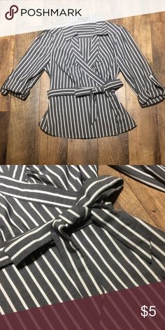 Striped Waist Tie Blouse Structured fit. Worn once to work event. Dry cleaned once. Forever 21 Tops Blouses