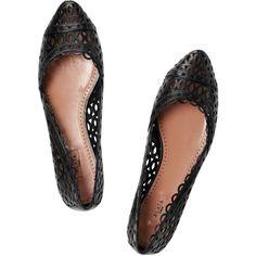 Alaïa Cutout leather ballet flats ❤ liked on Polyvore