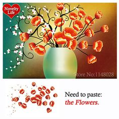 Poppies DIY Diamond Embroidery Painting Home Decoration Flowers In Vases Part Mosaic Crafts 3D Cross Stitch Kits for Needlework