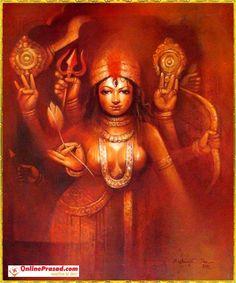 The fifth aspect of the Mother Durga is known as Skanda Mata. Her name literally means Mother of Skanda Kumara or Lord Kartikeya, who was chosen by gods as their commander in chief. Kali Goddess, Indian Goddess, Saraswati Goddess, Goddess Art, Shiva Art, Ganesha Art, Shiva Shakti, Kali Hindu, Hindu Art