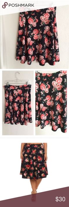 "(Plus) Floral midi skirt Black skirt. Elastic waistband. 95% polyester/ 5% spandex. Very soft! Not sheer. W = waistband measurement (unstretched- stretched comfortably). 2x: L: 25"" W: 34-42"" 3x: L: 26"" W: 36-44"" ⭐️This item is brand new from manufacturer without tags.  🚫NO TRADES 💲Price is firm unless bundled 💰Ask about bundle discounts Availability: 2x•3x •1•2 Skirts Midi"
