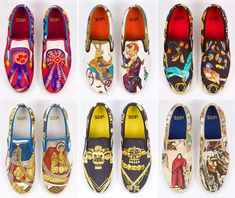 Vans, custom made for Robert Verdi, modeled after his personal collection of Hermés scarves.