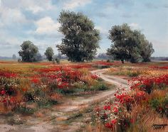 by Olga Odalchuk Oil Painting Pictures, Pictures To Paint, Nature Pictures, Oil Painting On Canvas, Landscape Art, Landscape Paintings, Russian Landscape, Islamic Paintings, Different Art Styles