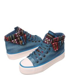 8f92c97707a Blue Canvas Chunky Flatform Trainers with Fold Ethnic Print Cuffs