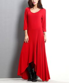 Loving this Red Scoop Neck Sidetail Maxi Dress on #zulily! #zulilyfinds
