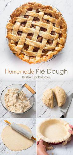 Easy Pie Dough Recipe and How To Make Pie Dough Homemade Pie Dough Recipe for Flakey Buttery Pie Dough Best Recipe Box Chocolate Pie Recipes, Chocolate Pies, Easy Desserts, Dessert Recipes, Cold Desserts, Best Recipe Box, How To Make Pie, Tacos, Homemade Pie Crusts