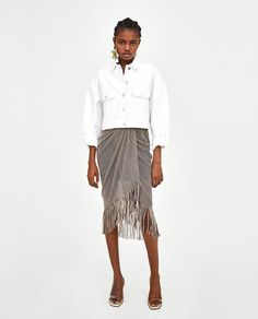 42607d2a9f2a2 ZARA - WOMAN - SKIRT WITH FRINGE Spring Outfits Women