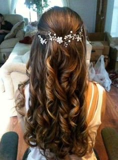 Bridal Hairstyles for Perfect Big Day; Braid styles for long or medium length hair; Easy hairstyles for women. beautiful hair styles for wedding Bridal Hairstyles for Perfect Big Day Wedding Hair Down, Wedding Hair And Makeup, Hair Makeup, Wedding Updo, Prom Updo, Bridal Updo, Half Up Half Down Wedding Hair, Curly Bridal Hair, Prom Hair Down