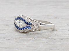 .40 Carat Art Deco Marquise Diamond and Sapphire Ring