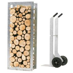 Woodstock is an ingenious storage solution for firewood that incorporates a matching cart for effortless transport. Woodstock can accommodate 41 cubic feet of firewood and is available in galvanized steel for use indoors or out.