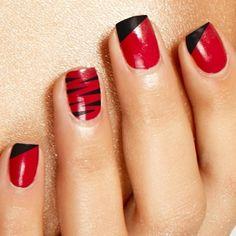 20 Dazzling Nail Art Designs with Black Nail Polish: Red with Black Stripes Nail Art