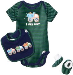 $15.00-$20.00 Baby Lamaze Baby-Boys Newborn 3 Piece Dirt Truck Bodysuit Set, Blue/Green, 0-3 Months - Lamaze 3 Piece Bodysuit, Bootie & Bib Set - GreenThis Lamaze 3 piece coordinating set is the perfect outfit for your little guy who likes to get dirty. Bodysuit, bib and booties are made of 100% interlock cotton for comfort and softness. Bodysuit features a lap shoulder neckline design for ease  ...