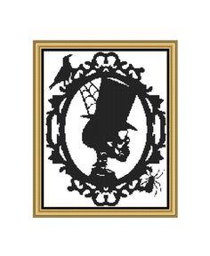 PDF Cross Stitch Pattern,Cameo Skull, Halloween, Downloadable Cross Stitch Chart by CrossStitchVillage on Etsy