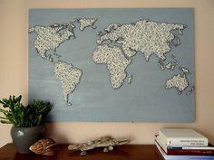 Weltkarte auf Holz mit Wolle 55cm x 80cm 21.7 x von BeauGrandMonde