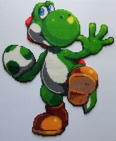 Yoshi Smash Bros Perler Beads by kamikazekeeg Pearler Bead Patterns, Perler Patterns, Pearler Beads, Fuse Beads, Yoshi, Bead Crafts, Fun Crafts, Perler Bead Mario, Modele Pixel Art