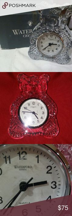 READY TO SELL MAKE OFFER Waterford  Bear Clock ??Authentic Waterford crystal Bear Clock. Working. Scratch on clock face (pic 3) im sure it can be replaced its plastic. Stands 6H and 4W. Comes in Waterford box not original box. Waterford crystal Other