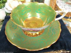 ROYAL STAFFORD ETCHED RAISED GOLD TEA CUP AND SAUCER FLORAL PATTERN