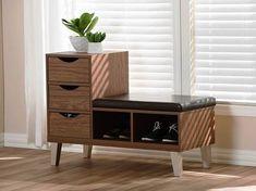 storage bench mid century modern