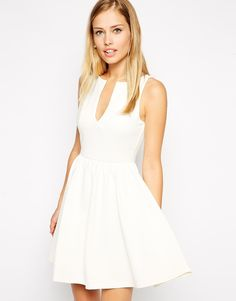 ASOS Sleeveless Skater Dress in Heavy Rib with V Neck http://asos.to/WBIPaX #pearshape