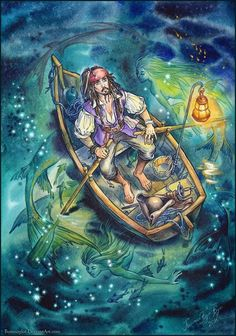 Captain Jack Sparrow and mermaids. Pirates of the Caribbean Art. Jack Sparrow Drawing, Sparrow Art, Pirate Art, Pirate Life, Pirate Crafts, Pirate Ships, Caribbean Art, Pirates Of The Caribbean, Johnny Depp