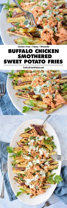 Buffalo Chicken Smothered Sweet Potato Fries - this healthy recipe uses just a handful of ingredients for a hearty, crowd-pleasing meal. Baked sweet p. Clean Eating Recipes, Lunch Recipes, Paleo Recipes, Real Food Recipes, Chicken Recipes, Chicken Ideas, Sweets Recipes, Recipes Dinner, Potato Recipes