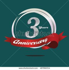 3 years silver anniversary logo with ring composition and red ribbon. anniversary logo for birthday, celebration, wedding and party