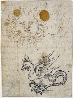 Albrecht Dürer, The Sun, the Moon and a Basilisk, a drawing, 1507/1519. British Museum