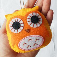 Felt owl ornament handmade decoration party by YouYouCreation
