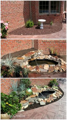 DIY Garden Waterfall and Pond   Be very careful digging this close to the house because of underground lines.  Sure don't want to hit a gas or phone line!!   This posting has been shared over 2000 times!!