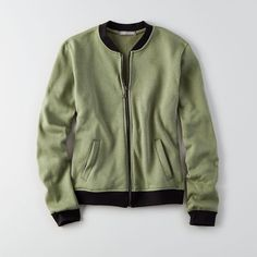 Don't Ask Why Zip-up Bomber Sweatshirt ($20) ❤ liked on Polyvore featuring tops, hoodies, sweatshirts, green, zip up sweatshirts, green sweatshirt, green top, zip up top and american eagle outfitters