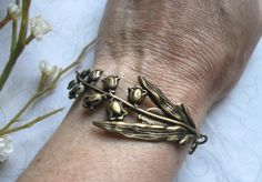 Lily of the valley bracelet, brass - nature jewelry, woodland flower by botanicalbird on Etsy