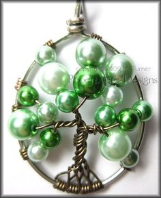 Tree of Life Pendant in Green Glass Pearl and Brown Wire - Bubble Tree