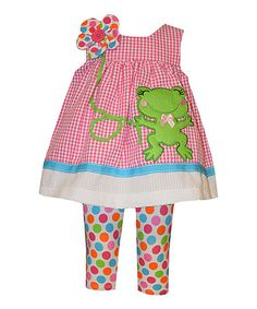 Another great find on #zulily! Pink Frog Dress & Polka Dot Leggings - Infant #zulilyfinds
