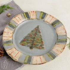 Etta B Christmas Tree Candy Stripe Platter Pottery Painting, Ceramic Painting, Painted Ceramics, Christmas Bowl, Christmas Crafts, Ceramic Christmas Decorations, Ceramic Workshop, Hand Built Pottery, Candy Stripes
