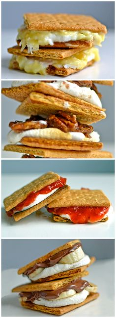 5 Pie S'mores Who wouldn't want to try one (or all) of these when camping.  Yummy s'more ideas when camping and enjoying a campfire in the outdoors with family and friends.  Surprise them with a different recipe idea.