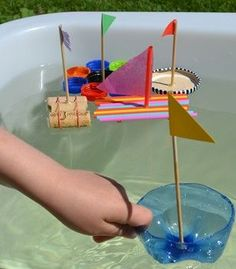 My Blue Boat. Sponge Sailboat Craft for Kids - Easy Peasy and Fun Kids Crafts, Boat Crafts, Summer Crafts, Toddler Crafts, Diy And Crafts, Science Fair Projects, Craft Projects, Toddler Activities, Preschool Activities
