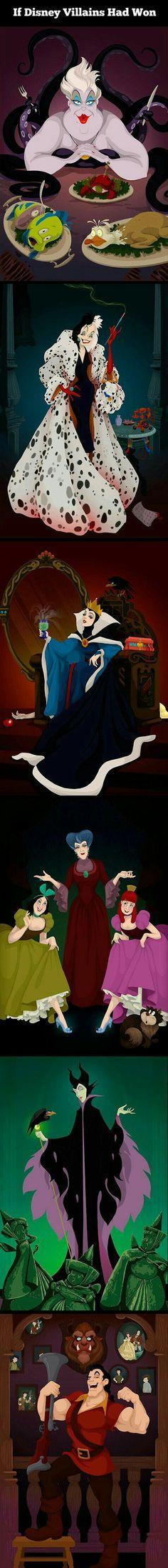 Funny pictures about If Disney villains had won. Oh, and cool pics about If Disney villains had won. Also, If Disney villains had won. Disney Pixar, Walt Disney, Disney Magic, Disney E Dreamworks, Disney Villains, Disney Characters, Humanized Disney, Evil Disney, Humour Disney
