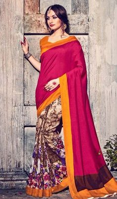 Appear ethnic in this kind of a affluent pink and cream color bhagalpuri silk printed half n half sari. That you can see some interesting patterns carried out with printed work. #halfnhalfsari #printedhalfnhalfsaree #onlinesariscollection