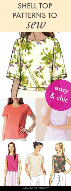 The simple and classic top to sew for the season. Choose lightweight fabrics and consider a bold print or a textured fabric. These easy and chic shell top sewing patterns are simple enough for beginning sewers.