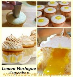 Lemon Meringue Cupcakes I hate lemon meringue, but hubby loves it so i'll give it a bash Köstliche Desserts, Delicious Desserts, Yummy Food, Deco Cupcake, Cupcake Cakes, Cup Cakes, Cupcake Recipes, Cookie Recipes, Dessert Recipes