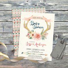 Deer floral antlers watercolor boho baby shower invitation. Digital files. Flowers, bohemian, card, arrow tribal. Customisable. 022CMP