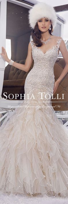 """Sophia Tolli """"Blake"""" - Y21502 Ruffles in misty tulle and decadent with hand-beading framed with lace appliqués make this wedding dress the standout of the season! Be sure to follow us on Pinterest for endless amazing wedding inspiration and the very latest wedding gowns each season. @moncheribridals"""
