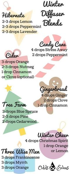 Winter Diffuser Blends This Christmas Season – Odds & Evans It's beginning to smell a lot like Christmas! Here are seven aromatic recipes to add in your essential oils diffuser this winter/holiday season. Essential Oils Christmas, Fall Essential Oils, Essential Oil Diffuser Blends, Young Living Essential Oils, Scentsy Essential Oils, Essential Oil Combos, Essential Oils For Anxiety, Diy Candles Scented, Homemade Candles
