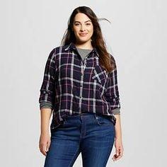 8f952f68e92 Women s Plus Size Plaid Button Down Shirt Navy - Ava  amp  Viv ™   Target
