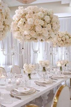 tall wedding centerpieces lush bouquet with white roses in tall transparent vases renezadoriphotography via - Wedding White Rose Centerpieces, White Wedding Decorations, Tall Wedding Centerpieces, Centerpiece Ideas, Hall Decorations, Centerpiece Flowers, Bouquet Flowers, Bridal Bouquets, All White Wedding