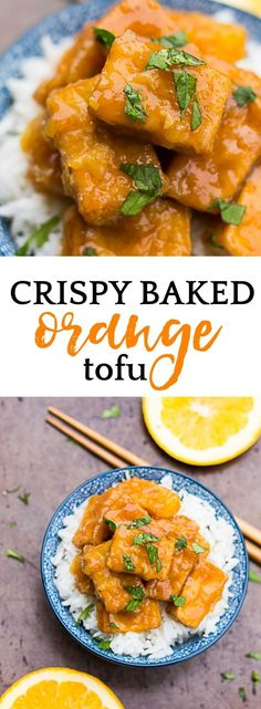 Vegan copycat recipe of Panda Express Orange Chicken, made healthy! A fresh, easy orange sauce paired with crispy no fry tofu. #vegan #glutenfree