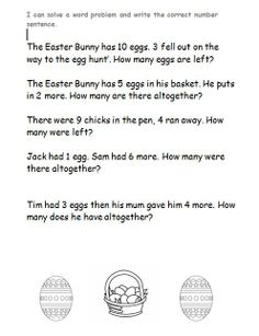 KS1 Easter word problems. Easter-themed word problems for teaching addition, subtraction, halving, doubling and other numeracy concepts.