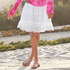 "STREET TO BEACH SKIRT -- Ladylike and laid back, our cotton skirt slips on with tiers of eyelet and pintucks that fall just so. Fully lined. Cotton. Machine wash. Imported. Sizes XS (2), S (4 to 6), M (8 to 10), L (12 to 14), XL (16). Approx. 19""L."