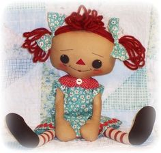 Rag Doll Pattern, Cloth Doll pattern, Instant Download PDF, Raggedy Ann, Annie, Primitive Doll, Sewing Pattern, Toy Pattern