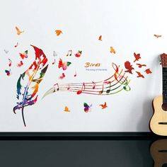 Musical Note Feather Removable Wall Stickers - COLORMIX